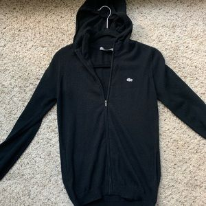 Lacoste black zip up cashmere hoodie